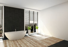 Modernt lyxigt badrum med det ljusa wood golvet royaltyfri illustrationer