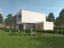 Modernt lyxigt hus i en landskap trädgård royaltyfria foton