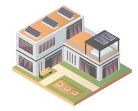 Modernt lyxigt isometriskt grönt Eco vänligt hus med solpanelen vektor illustrationer