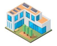 Modernt lyxigt isometriskt grönt Eco vänligt hus med solpanelen stock illustrationer