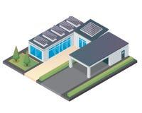 Modernt lyxigt isometriskt grönt Eco vänligt hus med solpanelen royaltyfri illustrationer
