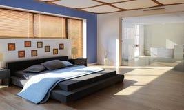 Modernt lyxigt sovrum med badrummet Fotografering för Bildbyråer