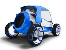 Modernt mörker - den blåa elbilen för turer på flygplatsen för bär royaltyfri illustrationer