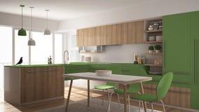 Modernt minimalistic träkök med att äta middag tabellen, matta och panorama- design för fönster-, vit- och gräsplanarkitekturinre arkivbild