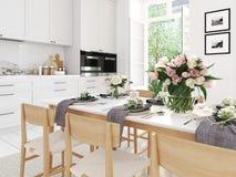 Modernt nordiskt kök i vindlägenhet framförande 3d Fotografering för Bildbyråer