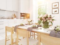 Modernt nordiskt kök i vindlägenhet framförande 3d Arkivfoto