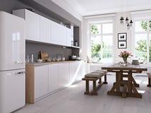 Modernt nordiskt kök i vindlägenhet framförande 3d Royaltyfria Bilder