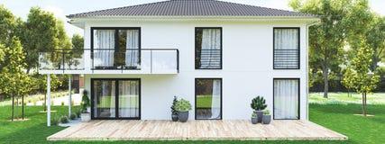 Modernt nytt hus med den stora egenskapen framförande 3d Royaltyfri Foto