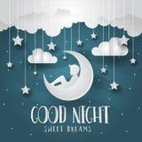 Modernt papper Art Good Night Greeting Card och banerillustration vektor illustrationer
