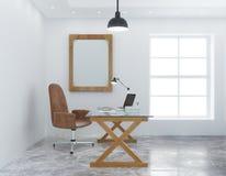 Modernt personligt kontor med den vita väggen stock illustrationer