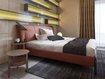 Modernt piska säng med sidotabeller med lampor i det moderna sovrummet Exponerade hyllor, glansiga väggpaneler, läder vektor illustrationer