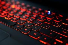 Modernt rött backlit tangentbord Arkivbild