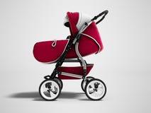 Modernt rött behandla som ett barn sittvagnen, transformator somall-säsongen 3d framför på gra stock illustrationer