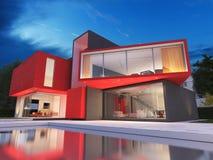 Modernt rött hus stock illustrationer