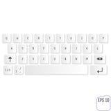 Modernt realistiskt tangentbord för smartphone- eller minnestavlaPC med alfabetisk Royaltyfri Foto