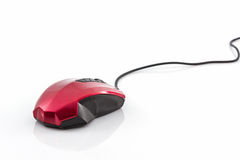 Modernt rött med den svarta datormusen Arkivbild