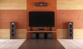 Modernt rum för hem- teater Royaltyfri Bild