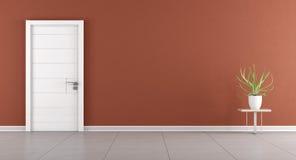 Modernt rum med den stängda dörren Fotografering för Bildbyråer