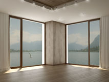 Modernt rum med två stora fönster i hörn Fotografering för Bildbyråer