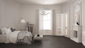 Modernt scandinavian sovrum i klassisk tappningvardagsrum med royaltyfri fotografi