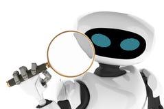 Modernt se för robot till och med ett förstoringsglas innovativ cybo royaltyfri illustrationer