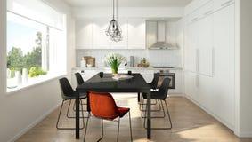 Modernt skandinaviskt kök Royaltyfri Bild