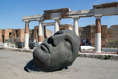 Modernt skulpturhuvud Pompeii Royaltyfri Foto