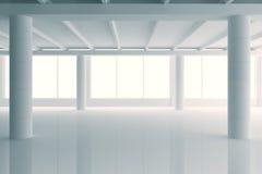 Modernt soligt vitt stilöppet utrymmekontor med stora fönster och stock illustrationer