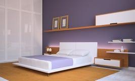 modernt sovrum Stock Illustrationer