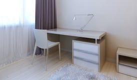 Modernt sovrum för arbetsområde Royaltyfri Fotografi