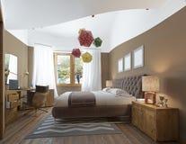 Modernt sovrum i stilen av moderna nattduksbord med Royaltyfria Foton