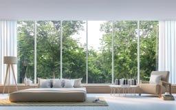 Modernt sovrum med bild för tolkning för natursikt 3d Royaltyfri Bild