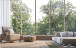 Modernt sovrum med bild för tolkning för natursikt 3d Royaltyfria Bilder