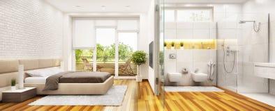 Modernt sovrum med det moderna badrummet och fönstret stock illustrationer