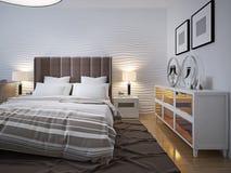 Modernt sovrum med serveringsbordtrend Arkivbild