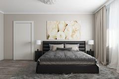Modernt sovrum med vita rosor Arkivfoto