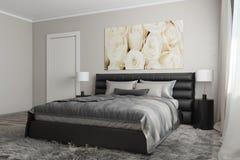 Modernt sovrum med vita rosor Royaltyfria Bilder