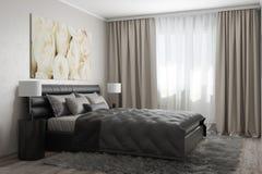 Modernt sovrum med vita rosor Royaltyfria Foton