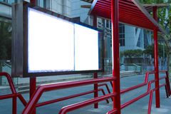 Modernt stadsadvertizingljus av askar royaltyfria foton