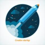 Modernt startup begrepp med startpennraket Royaltyfri Foto
