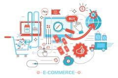 Modernt stilbegrepp för grafisk design av online-shopping, e-kommers online-försäljningar, digital marknadsföring Promolägenhetli vektor illustrationer