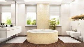Modernt stort vitt badrum med ett runt bad stock illustrationer
