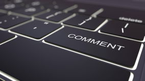 Modernt svart datortangentbord och lysande kommentartangent framförande 3d Fotografering för Bildbyråer