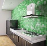 modernt svart inre kök 3d royaltyfri illustrationer