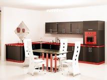modernt svart inre kök Arkivbild