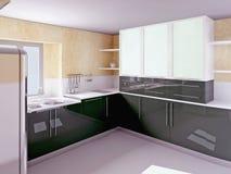 modernt svart kök för skönhet Arkivbilder