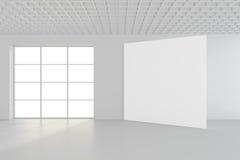 Modernt töm rum med den vita affischtavlan 3d framför Arkivfoto