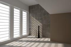 Modernt töm rum med stora fönster | Arkitekturinre Royaltyfria Bilder