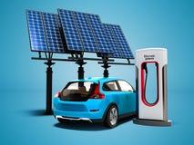 Modernt tanka för begrepp med solpaneler för elbilbac vektor illustrationer