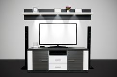 Modernt TVrum med upplysta LEDDE lampor arkivbilder